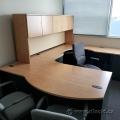 Light Tone U/C Suite Office Desk w/ Knee Space & Overhead Hutch