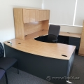Light Tone U/C Suite Office Desk w/ Bow Front and Overhead Hutch