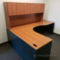 Autumn Maple L-Suite Corner Desk w/ Overhead Hutch