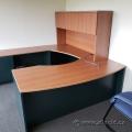 Autumn Maple U/C Suite Office Desk w/ Bow Front & Overhead Hutch