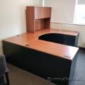 Autumn Maple U/C-Suite Office Desk w/ Overhead Hutch