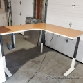 Haworth Light Maple Powered Sit Stand Height Adjustable Desk
