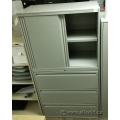 Grey Haworth 3 Drawer Lateral Storage Cabinet w/ Sliding Doors