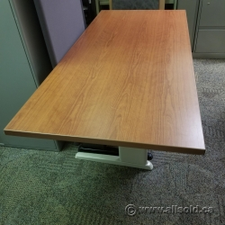 "66"" x 30"" Medium Maple Sit Stand Desk Table Surface"
