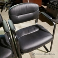 Black Leather Office Lobby Guest Chair