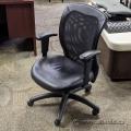 Black Leather Mesh Back Adjustable Task Chair