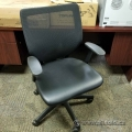 Keilhauer Simple Black Mesh Leather Seat Task Chair w Fixed Arms
