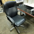 Black Leather Chrome Base Office Task Chair w/ fixed Arms