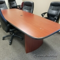 "96"" Medium Maple Racetrack Boardroom Table w/ Black Trim"