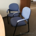 Blue Office Guest Chair with Sleigh Base