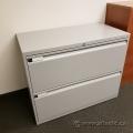 Teknion Grey 2 Drawer Lateral File Cabinet, Locking