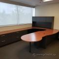Black and Medium Tone U-Suite Desk w/ Overhead & Rounded Runoff
