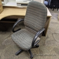 Green Patterned Height Adjustable Office Chair w/ Fixed Arms