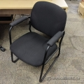Black Fabric Sleigh Guest Chair