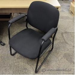 Black Fabric Sleigh Guest Chair