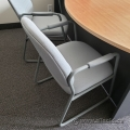 Off White Office Guest Chairs with Sleigh Base