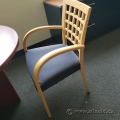 Blue Seat Wood Back Office Guest Chair