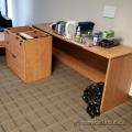 Maple Straight Desk w/ 4 Drawers of Storage