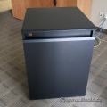 AVFI Black Wood Laminate Rolling Single Rack Credenza Cabinet