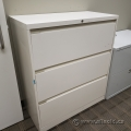 Light Grey 3 Drawer Lateral File Cabinet, Locking