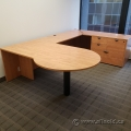 Maple U/C Suite Office Desk w/ Drawer Storage and Rounded Runoff