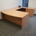 Maple U/C Suite Office Desk w/ Drawer Storage and Bow Front