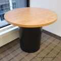 """35"""" Maple Top Round Table w/ Black Barrel Base"""