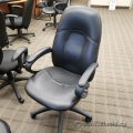 Black Leather Office Task Chair w/ Curved Fixed Arms