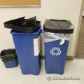 Large Square Dark Blue Recycling Bin w/ Black Swing Top Lids