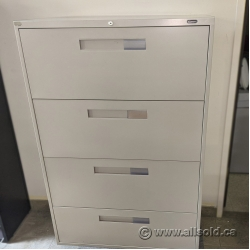 Beige Global 4 Drawer Lateral File Cabinet, Locking