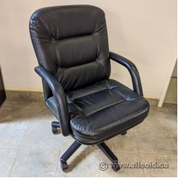 Black Leather Office Meeting Chair with Spin Height Adjustment