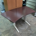"""Curved Espresso Sit Stand Desk Surface 48"""" - 60"""" x 30"""""""