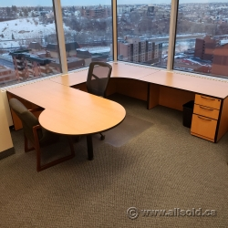 Blonde w/ Black Trim U/C Suite Office Desk w/ Rounded Runoff
