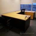 Blonde w/ Black Sides U/C Suite Office Desk w/ Dual Storage