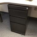 Black 3 Drawer Under Desk Pedestal Cabinet