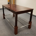 Tall Mahogany Home & Office Meeting Table w/ Chrome Leg Supports