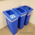 Thin Blue Recycling Bin w/ Open Top Lid