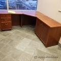 Vintage Style Executive Corner L Suite Desk w/ Brass Handles