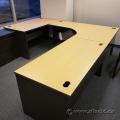 Blonde w/ Black Sides Open Style U/C Suite Office Desk
