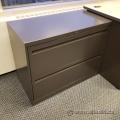 "Boulevard Grey 2 Drawer 36"" Lateral File Cabinet, Locking"