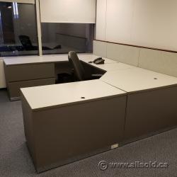 Off-White w/ Grey Accent U / C Suite Office Desk w/ Dual Storage