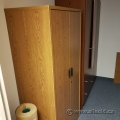 Medium Oak 2 Door Wardrobe Storage Cabinet w/ Adjustable Shelves