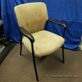 Tan Suede Guest Chair w Fixed Arms