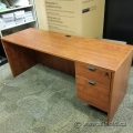 Autumn Maple Single Pedestal Straight Desk
