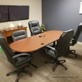 Medium Maple Boardroom Table w/ Black T Legs