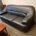 Black Three Seat Leather Sofa Couch and Armchair
