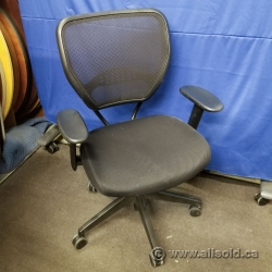 HON Basyx Black Mesh/Cloth Mid Back Rolling Task Chair w/ Arms