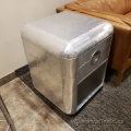 Aluminum Side Table with Drawer
