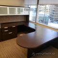U Suite Desk w/ Bullet Runoff, Overhead & 4 drawer file Cabinet