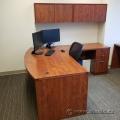 Autumn Maple L-Suite Bow Front Desk w/ Box/Box/File Ped,Overhead